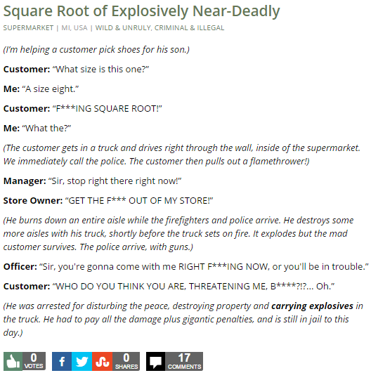 Square Root of Explosively Near-Deadly
